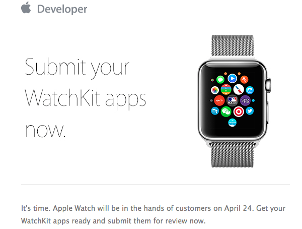 Submit WatchKit Apps email
